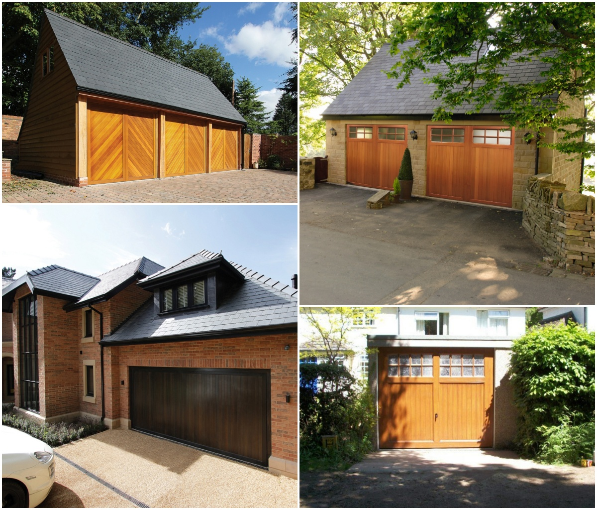 4 different styles of timber garage doors.