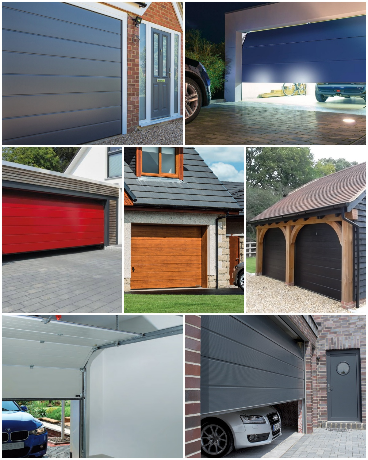 Different styles of sectional garage doors